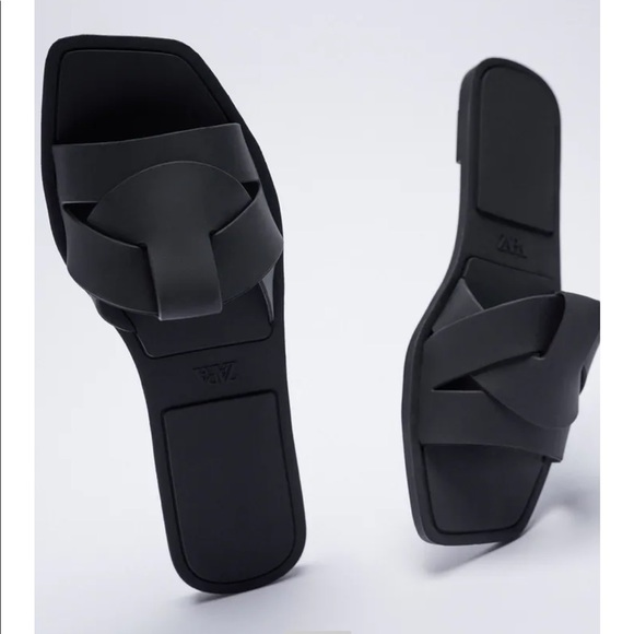 Slide Sandals with Rubberized Crossover Straps